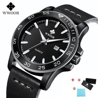 WWOOR Men's Sports Watches Waterproof Genuine Quartz Leather Strap Fashion Stainless Steel With Gift Box - 8834