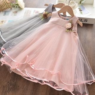 Đầm công chúa không tay trang trí hoa cho bé gái 3-7 tuổi