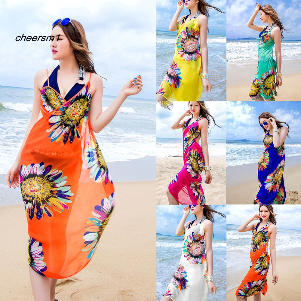 CHE♥Summer Beach Sunflower Print Sexy Women Chiffon Wrap Bikini Cover Up Tunic Dress