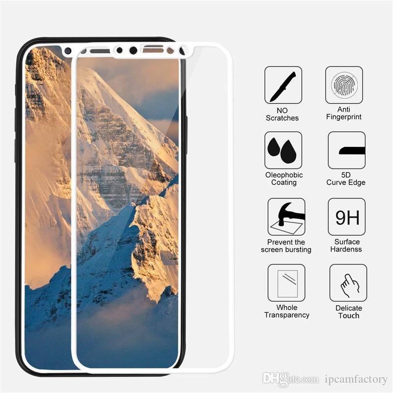 Miếng dán cường lực Iphone X 5D full màn hình cao cấp (màu trắng)