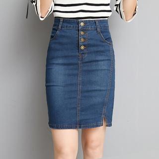 Fashion high-waist denim skirt women's mid-section thin stretch slim slimming short skirt with hip skirt