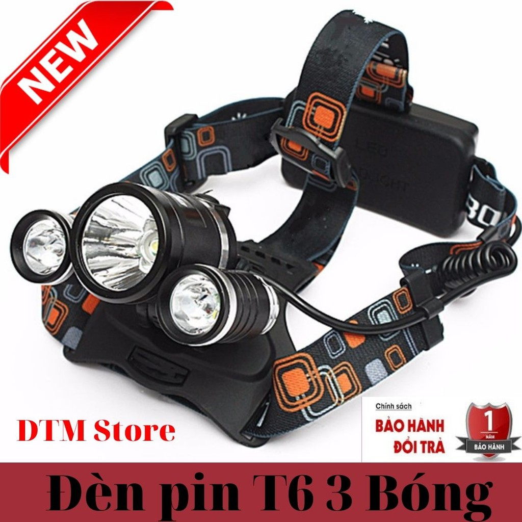 Đèn pin đội đầu 3 bóng ánh sáng trắng siêu sáng,đèn pin đội đầu chống nước kèm 2 pin sạc và cục sạc - DTM Store