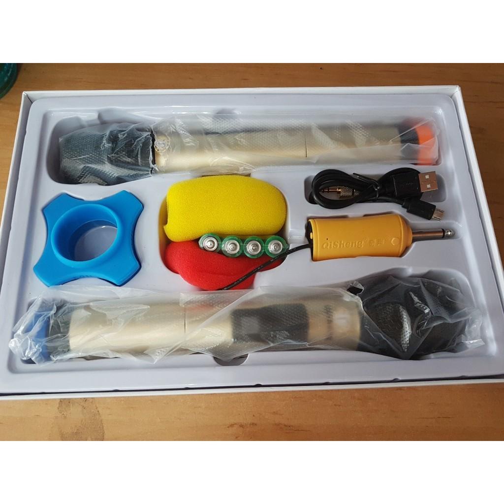 Bộ 2 micro Karaoke không dây QiSheng QM-128 (nhiều màu) Hỗ trợ các thiết bị có jack cắm 3.5mm và 6.5