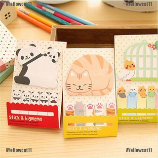 AYellowcat Animal Cat Panda Cute Kawaii Memo Sticky Notes Planner Stickers Paper Bookmarks
