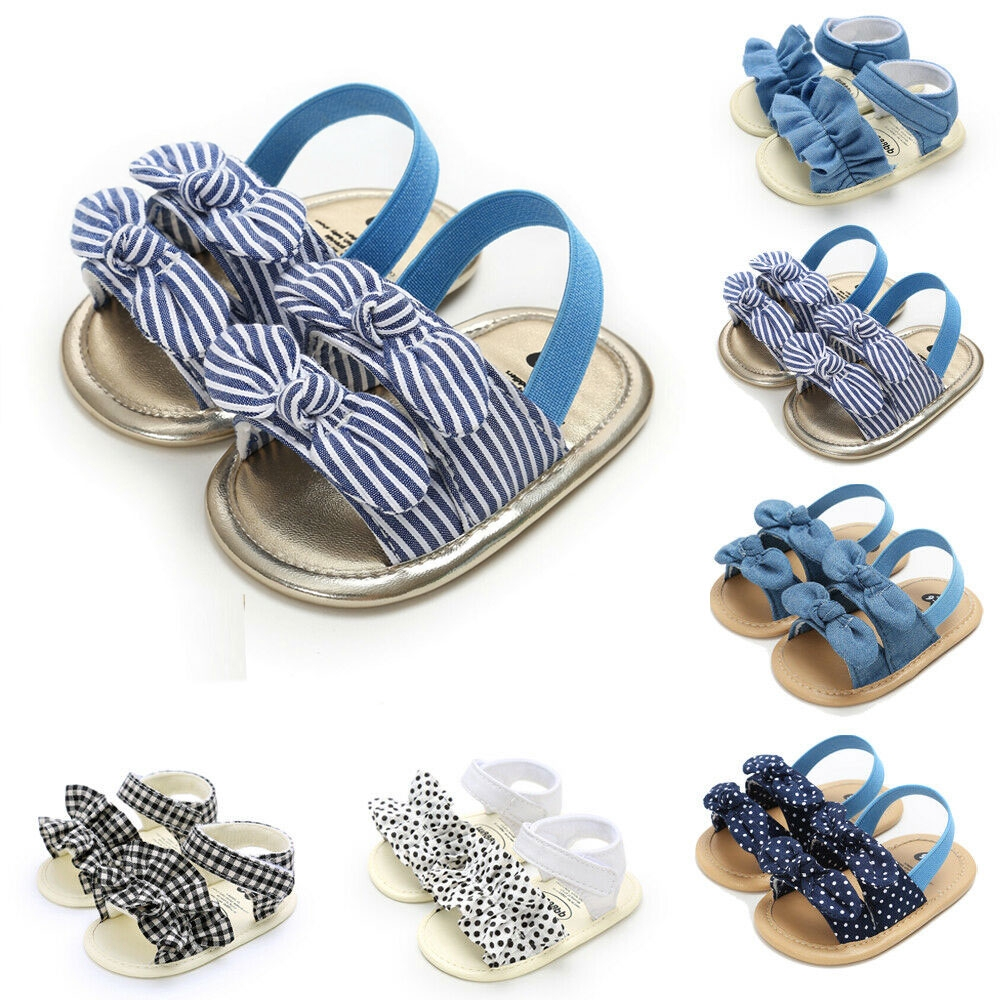 ❀Pink✰-Baby Girl Bow Sandals Flat Heels Toddler Kids Summer Party Beach Shoes