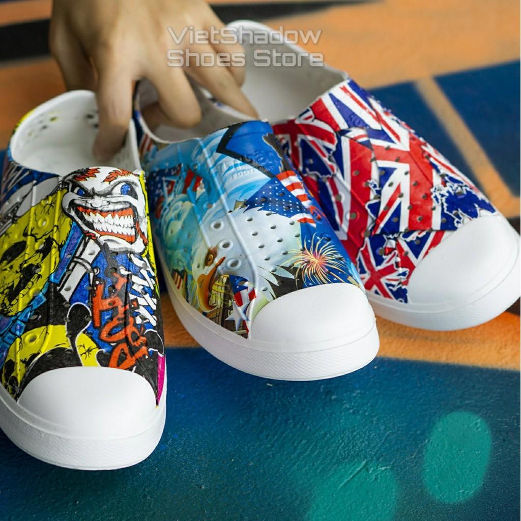 Giày nhựa URBAN họa tiết - Giày đi mưa, đi biển chất liệu EVA siêu nhẹ, sơn họa tiết trẻ trung, bắt mắt