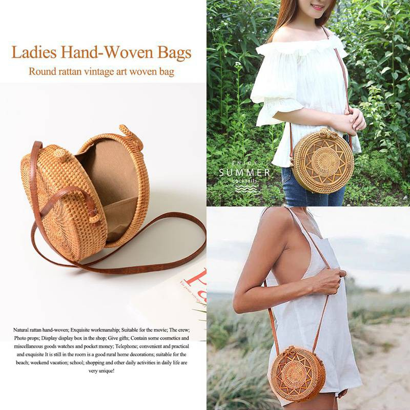 TH BUYEASY INS new ladies rattan retro art hand-woven Bohemiaoulder strap