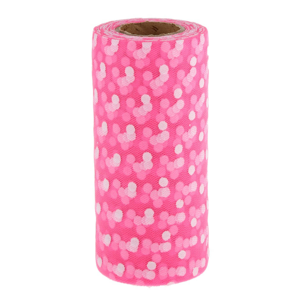 25yd Flocking Polka Dot Tulle Roll for Wedding Party DIY Decor