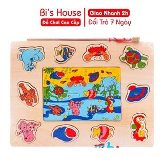 Câu cá ghép hình bằng gỗ an toàn cho bé - đồ chơi cao cấp Bi's House
