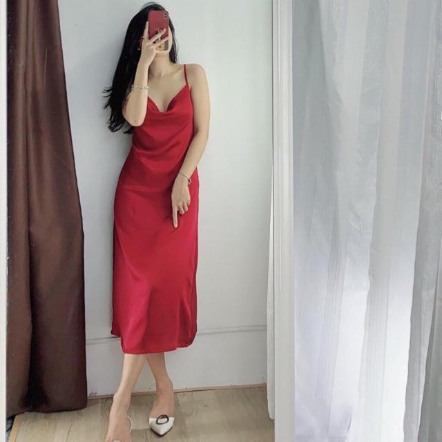 Đầm cổ đổ form dài . Chất liệu lụa 100%
