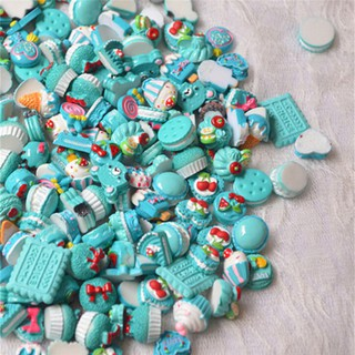 10Pcs Blue Blessing Bag Mixed Lot Cute Resin Food Candy DIY Craft Collection