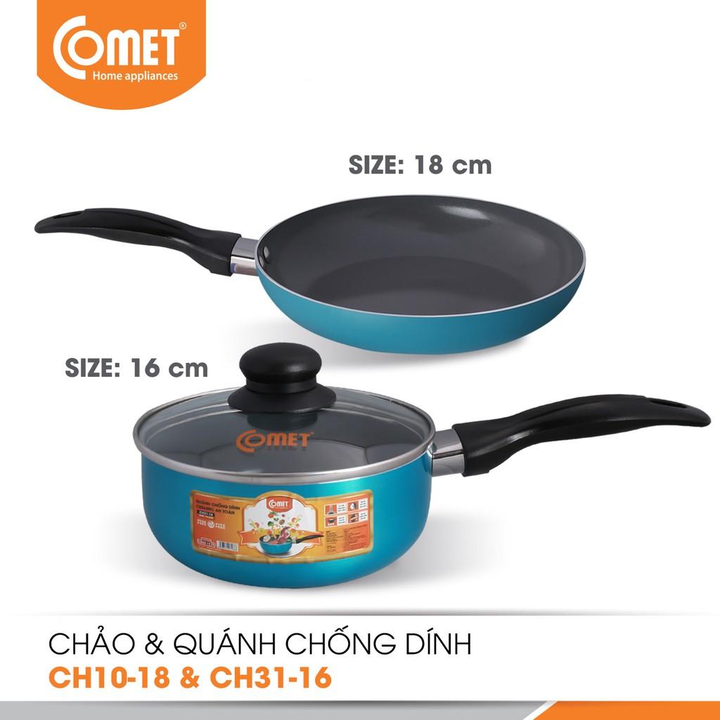 Combo chảo và quánh chống dính Ceramic an toàn Comet CH10-18 & CH31-16