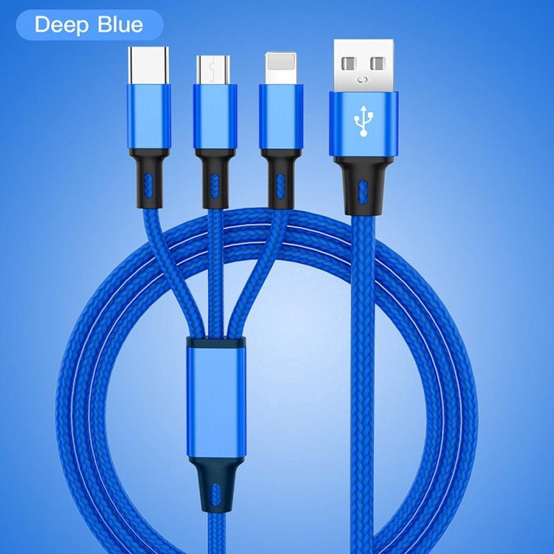 Dây cáp sạc 3 trong 1 có đầu Lightning / Micro USB/ Type C cho Iphone / Android