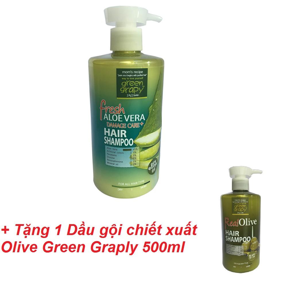 [MUA 1 TẶNG 1] Dầu gội cho tóc hư tổn từ nha đam GREEN GRAPHY 500ml