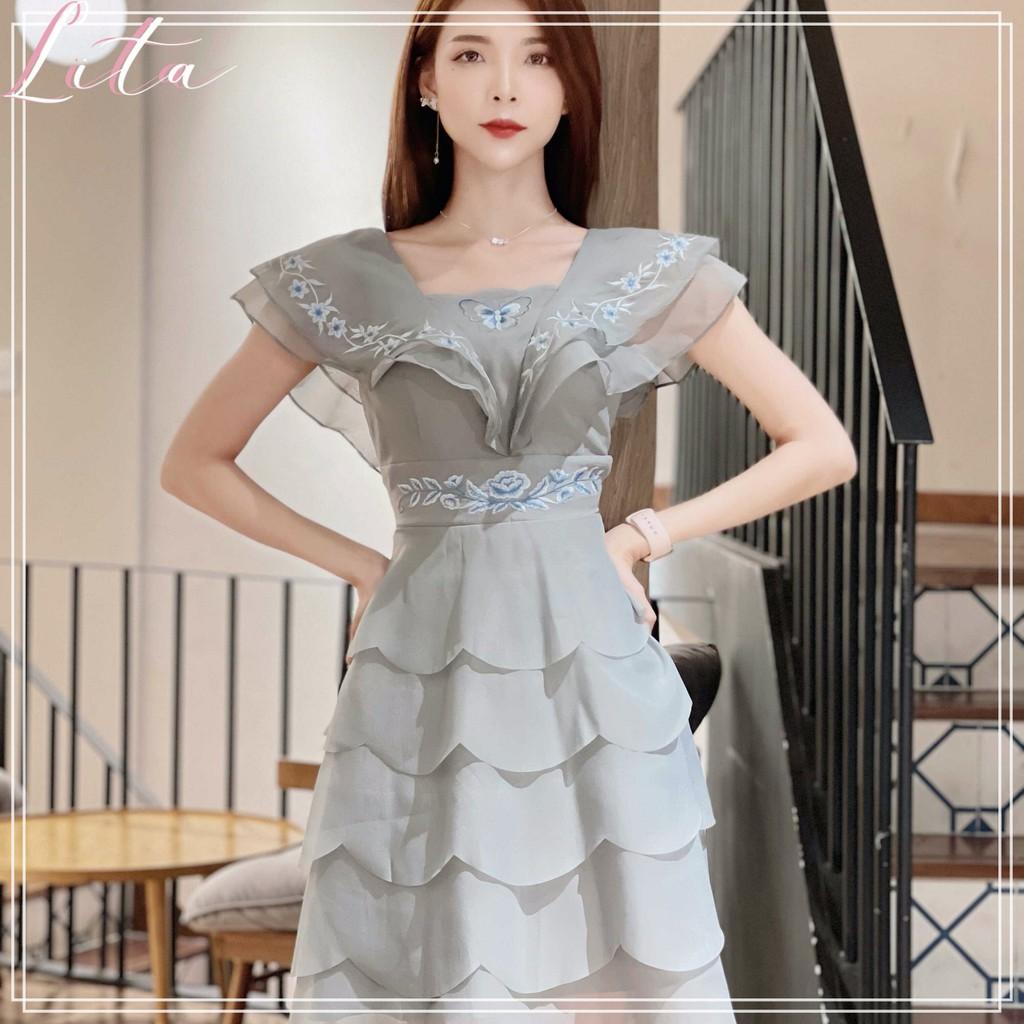 Mặc gì đẹp: Sang chảnh với Đầm thiết kế nữ Lita - Đầm dự tiệc cổ vuông xếp từng thêu hoa dáng xòe cao cấp SKU : VCS07