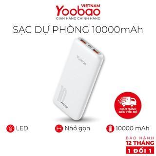 Sạc dự phòng 10000mAh Yoobao D10 2 cổng USB - Hàng chính hãng - Bảo hành 12 tháng 1 đổi 1
