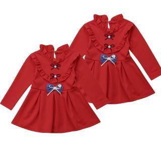Mu♫-New Baby Girls Kids Dress Long Sleeve Autumn Winter Princess Tutu Dress Clothes 0-5T