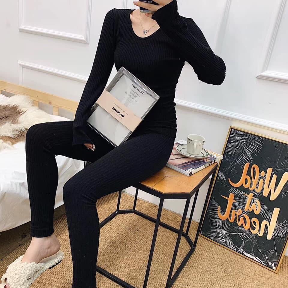 Bộ mặc nhà len tăm giữ nhiệt HENNY ROE thời trang, hot nhất thu đông 2019