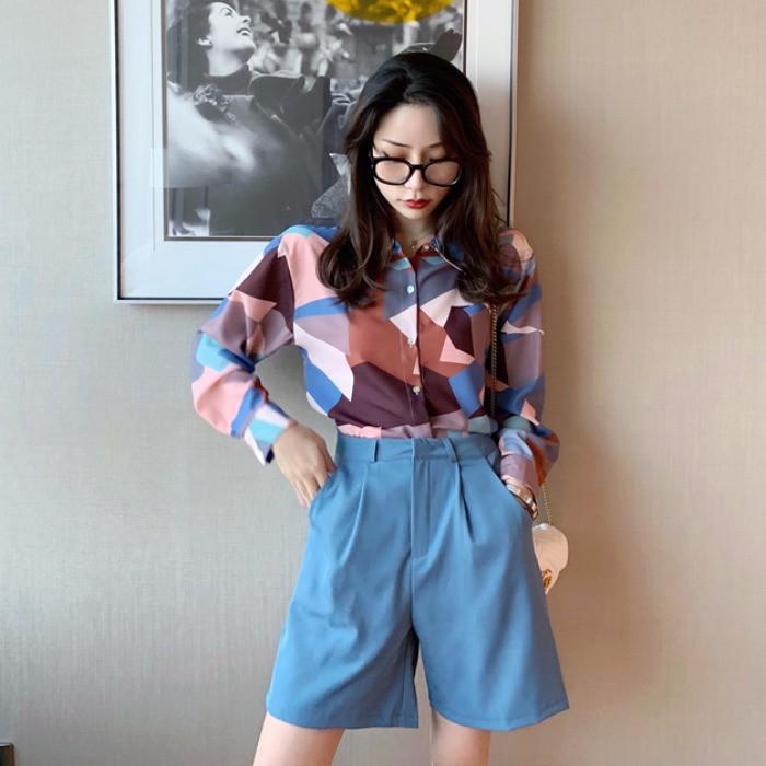 2019 ฤดูใบไม้ร่วงใหม่หญิงเวอร์ชั่นเกาหลีของเสื้อพิมพ์บทคัดย่อ