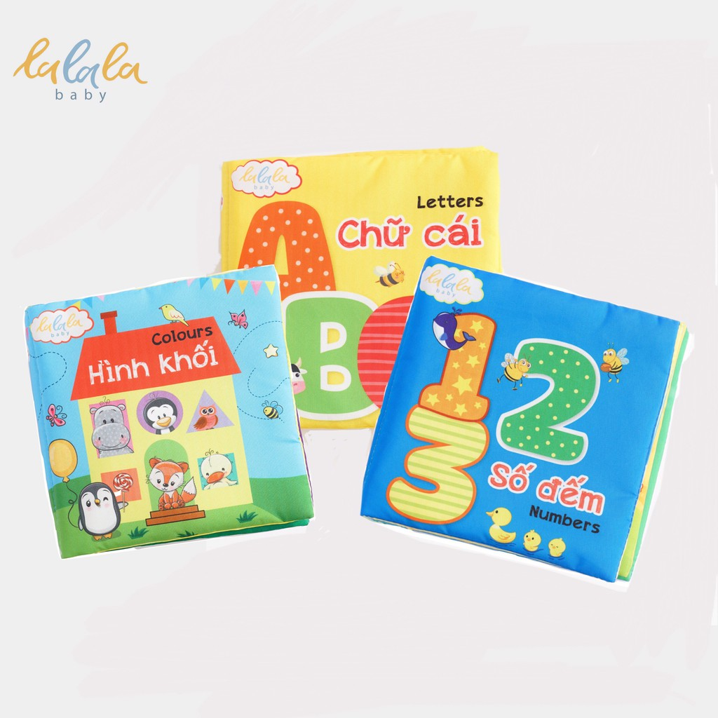 Combo 3 cuốn sách vải Lalala baby, kích thích đa giác quan, kích thước 15x15cm 12 trang (Hình khối, số đếm, chữ cái)