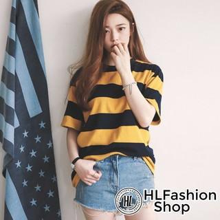 Áo thun tay lỡ form rộng sọc vàng đen, áo phông nam nữ size HLFashion thumbnail