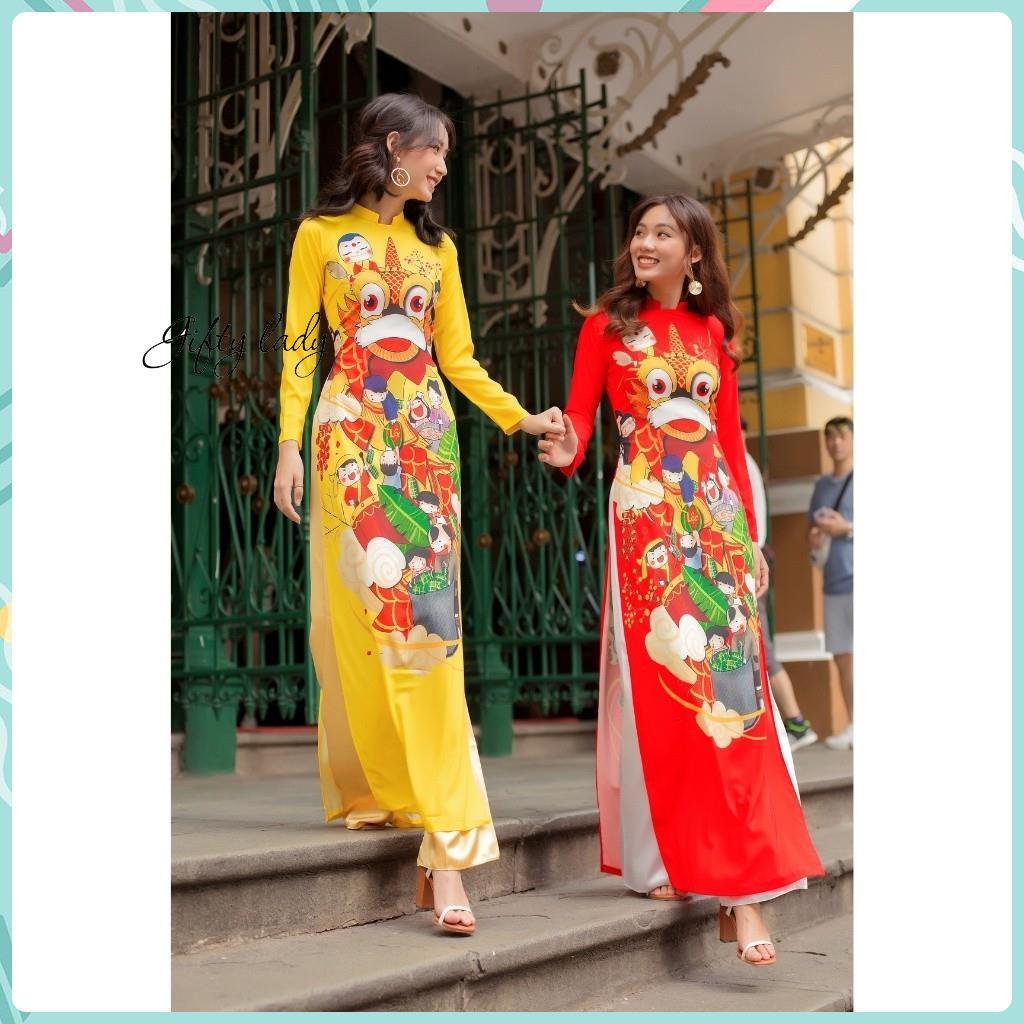 Áo dài truyền thống nữ đỏ vàng cổ cao hở vuông vải lụa hoạ tiết lân tết khai trương có nhiều size