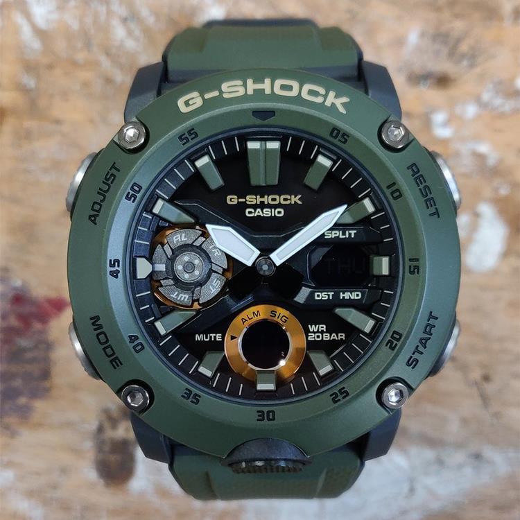 Đồng hồ nam Casio G -Shock GA-2000-3ADR Chính hãng - Màu quân đội - Chống nước 200m