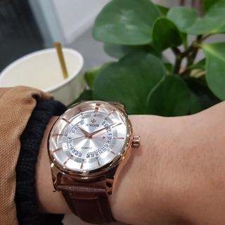 Đồng hồ nam Wwoor dây da thời trang có lịch chính hãng Tony watch 68