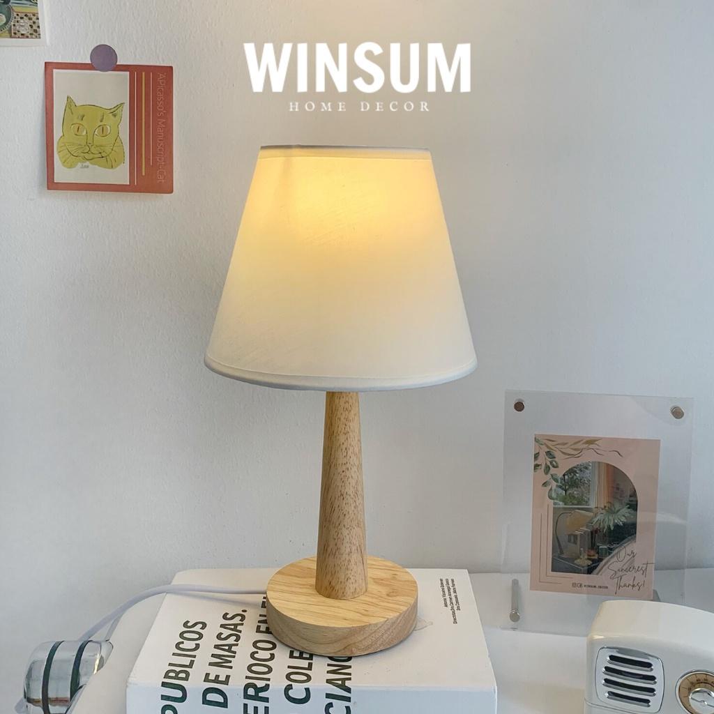 Đèn ngủ để bàn thân gỗ phong cách Bắc Âu (đã bao gồm bóng đèn) - Winsum.decor