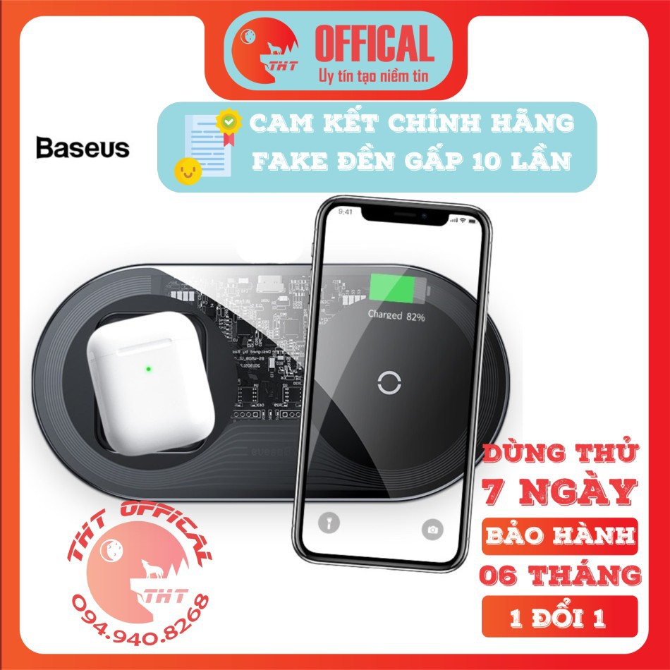 Đế sạc nhanh không dây iPhone Airpods Baseus Simple 2 in 1 Wireless Charger 18W