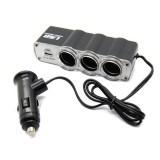 Bộ chia ba tẩu và cổng USB 12V cho ô tô HQ6332 + Tặng 1 bộ 4 miếng dán tay nắm cửa xe M 239.