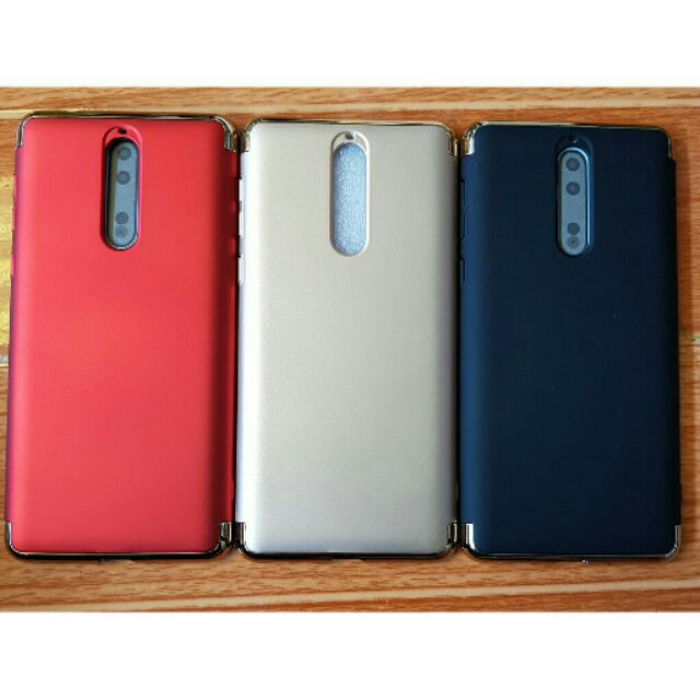 Ốp lưng 3 mảnh Nokia 8 - Nhung mịn chống vân tay