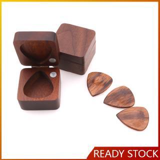 Wooden Guitar Pick Plectrum Box for 4pcs Picks Hold