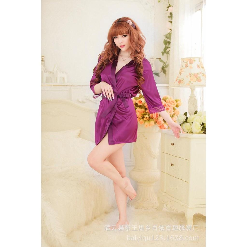 Váy ngủ nữ tay lửng kiêm áo choàng Tím CDAN26