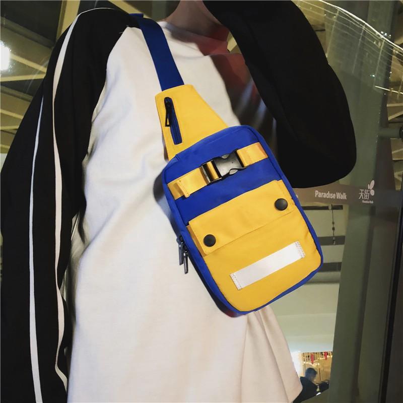 กระเป๋าแบรนด์ Tide ผู้ชาย2 019 กระเป๋าหน้าอกคู่ใหม่ความคมชัดสีสาดหลักฐานกระเป๋า Messenger กีฬาชายเวอร์ชั่นเกาหลีของถนนแฟ