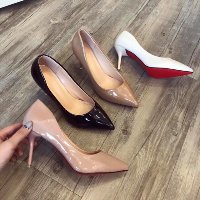 Giày cao gót da bóng trơn gót nhọn - Cao 7P