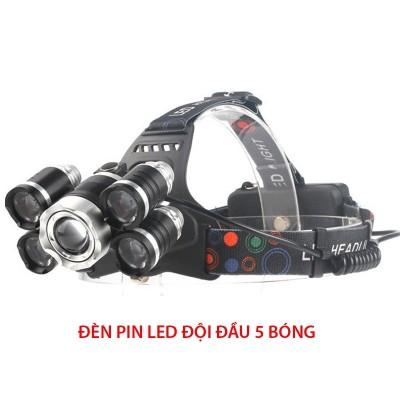 ĐÈN PIN ĐỘI ĐẦU 5 BÓNG SIÊU SÁNG, đèn pin, đen pin, den pin sieu sang