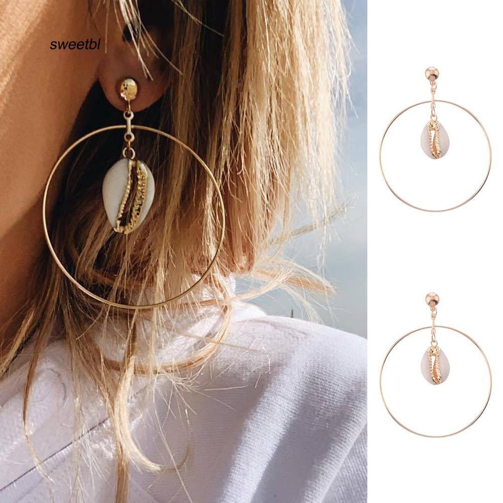 SWTB_Hollow Big Circle Cowrie Shell Drop Statement Stud Earrings Women Beach Jewelry