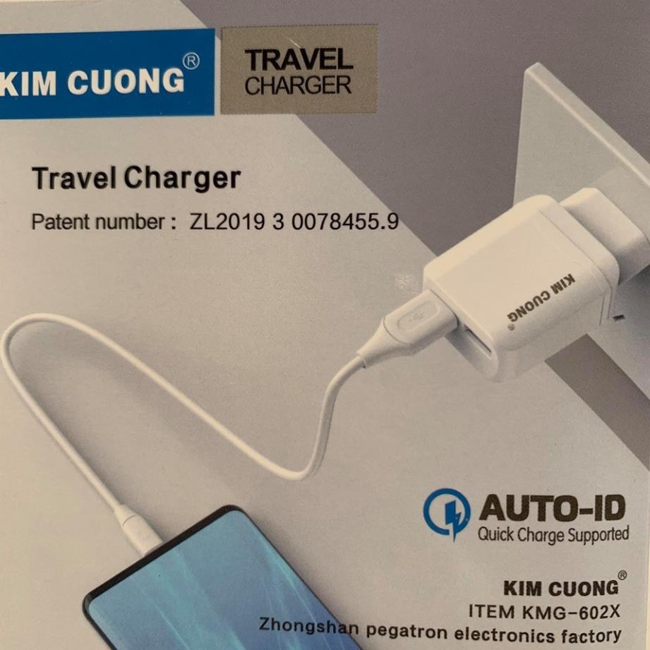 Củ sạc nhanh iPhone/Samsung 2 cổng sạc 3.0A + kèm cáp Micro USB 602X - Việt Linh Store
