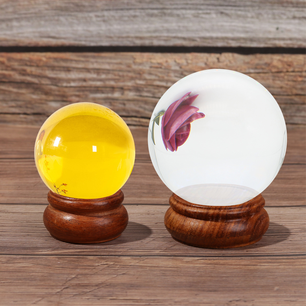 KRNY Natural|Sphere Pedestal Photography Props Wood Display Stand Ball Holder Craft Fixed Seat Home Decoration Desktop Ornament Glassball Base