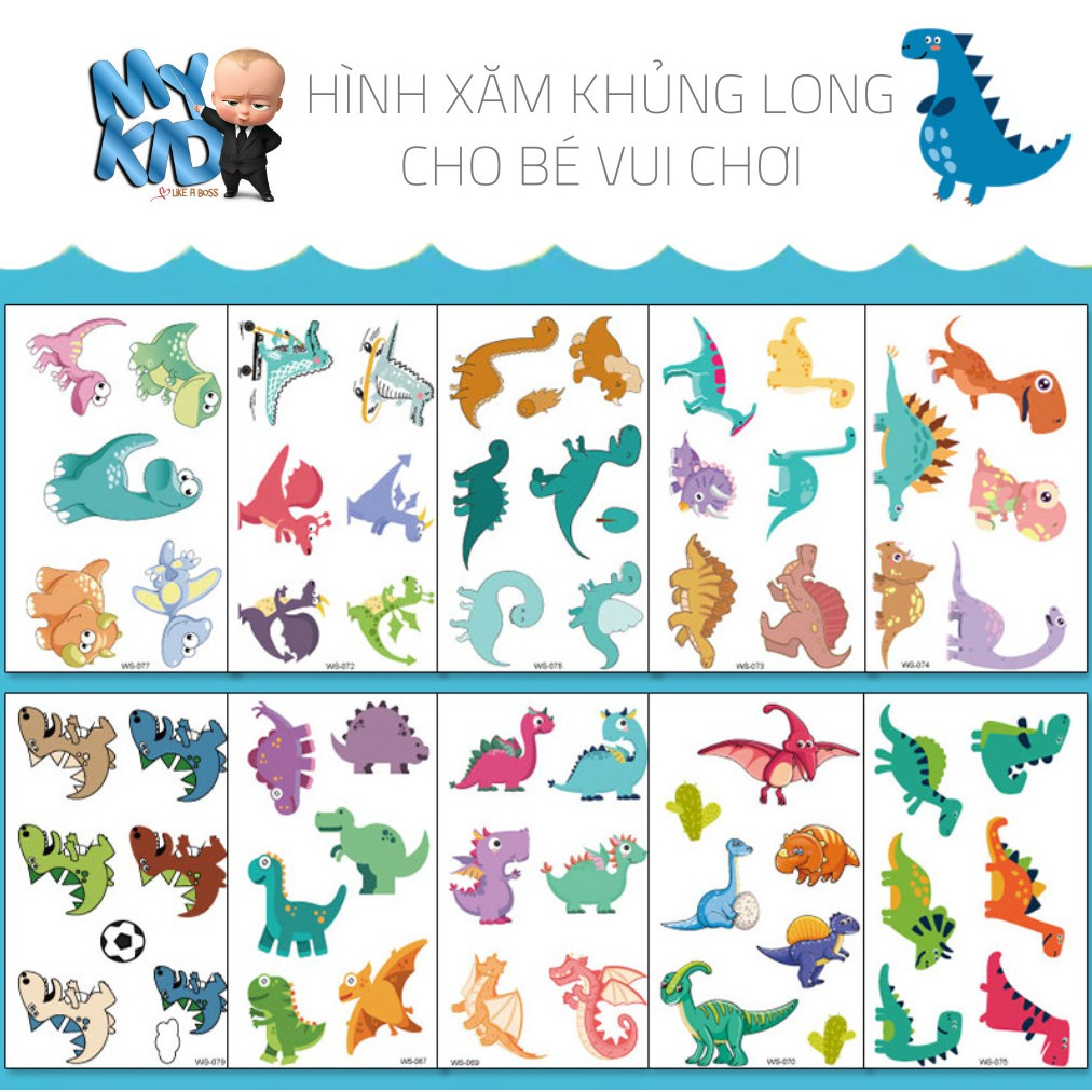 Sticker hình xăm dán tuổi thơ TATOO KHỦNG LONG đồ chơi cho bé trai bé gái