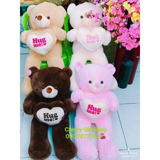 Gấu Bông Teddy Ôm Tim Cao Cấp 90cm Ảnh Shop Chụp