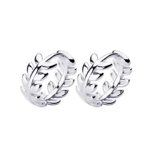 Khuyên Tai Bạc Nữ 925 Hình Lá Vòng Tròn - B2442 - Bảo Ngọc Jewelry