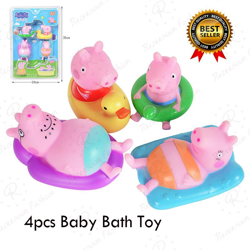 4pcs Cartoon Peppa Pig Bathing Toys Baby Shower Wash Bath Toy Soft Rubber