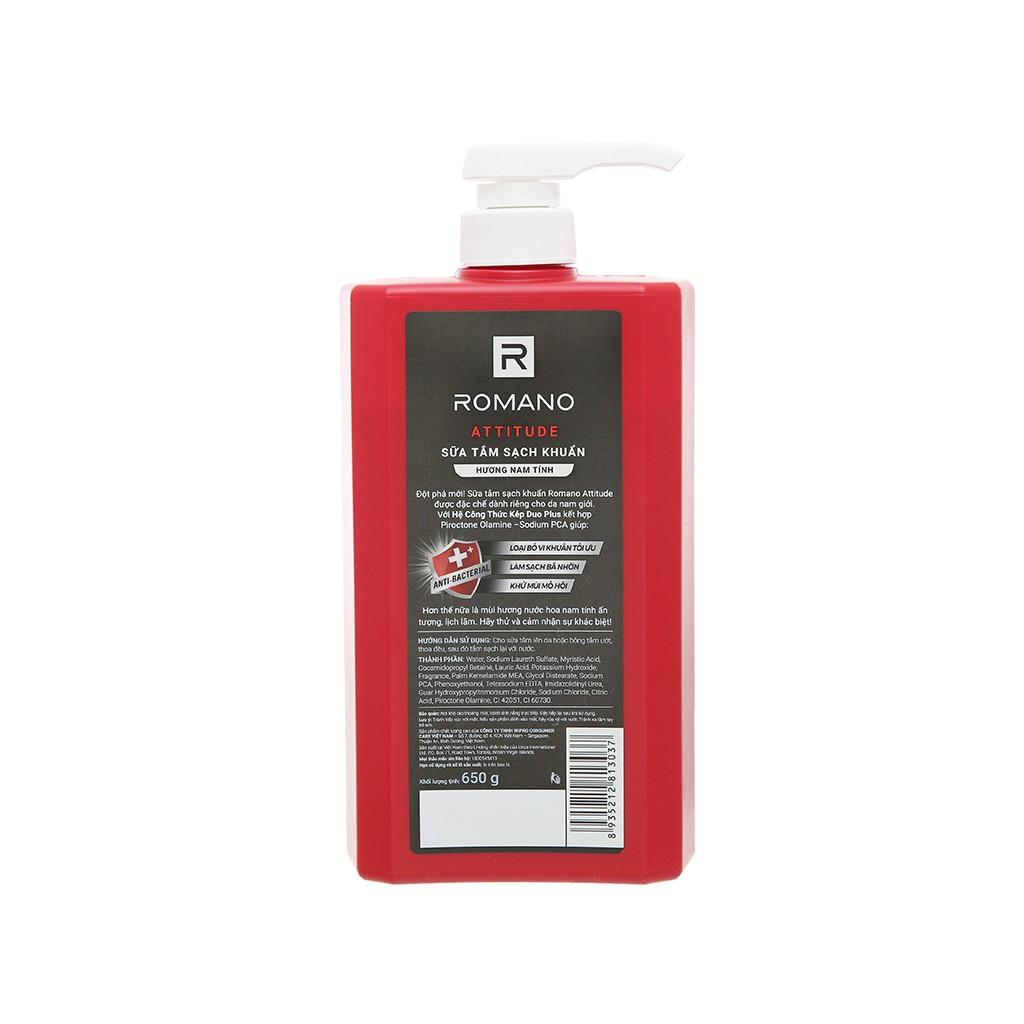 Sữa tắm sạch khuẩn Romano Attitude 650g
