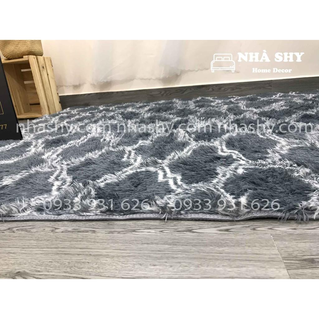 Thảm Lông Trải Sàn Màu Xám Hình Thoi - Size 2mx1m6