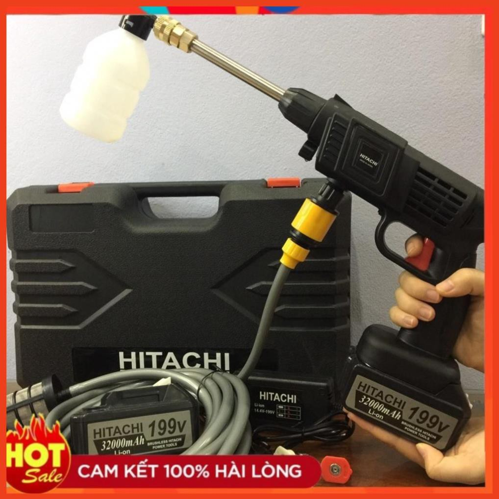 Máy rửa xe dùng pin mini, Máy xịt rửa tăng áp Hitachi 199V áp lực cao 1400W [Tặng bình tạo bọt
