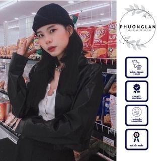 Áo khoác da 🌸FREESHIP🌸 Áo khoác da nữ croptop basic siêu ngầu màu đen over size