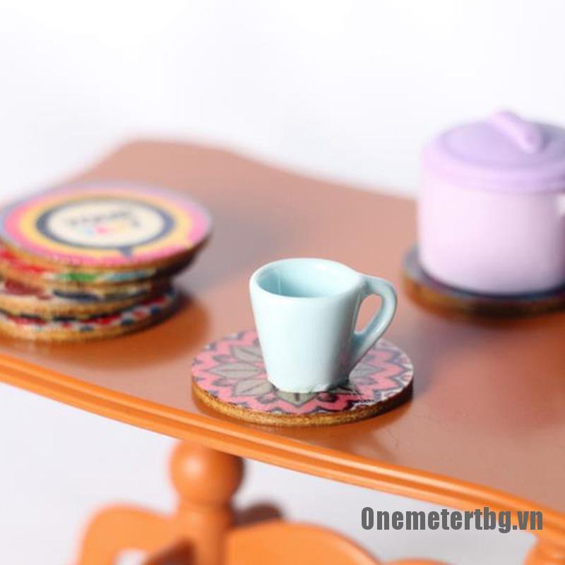 【Onemetertbg】5pcs Dollhouse Miniature wooden coaster Decor furniture Toy