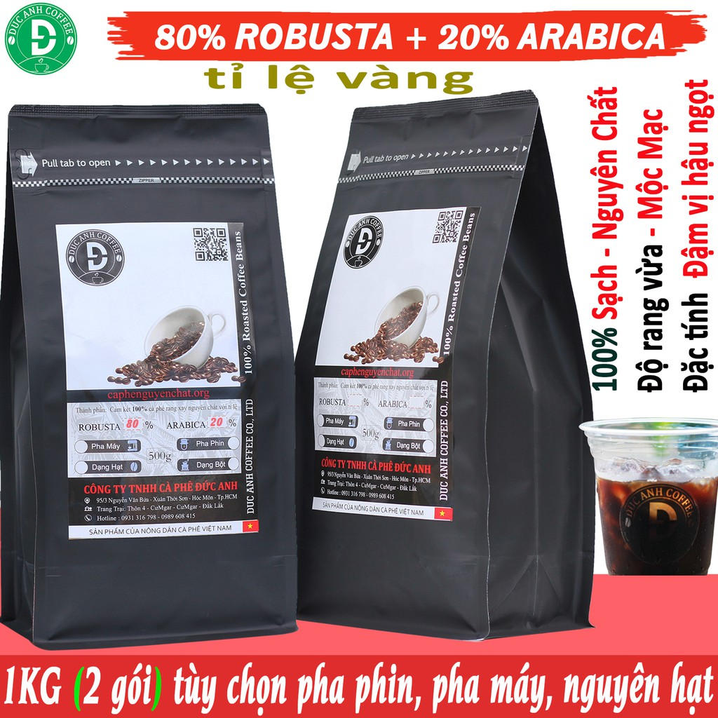 1kg Cà Phê Rang Mộc DUC ANH COFFEE tỉ lệ 8-2 với 80% Robusta + 20% Arabica - 2 gói zipper 500g có chọn theo yêu cầu